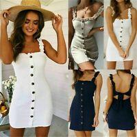 Womens Strappy Button Bodycon Sundress Ladies Summer Holiday Beach Mini Dress UK