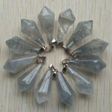 Jewelry Making Charms Natural Devil Crystal Quartz Hexagonal Pyramid Pendants