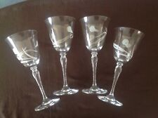4 OSCAR de la RENTA CRYSTAL CARVED WATER / WINE GLASSES Hight 8 1/4""