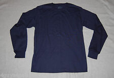 MENS  L/S Tee Shirt FRUIT OF THE LOOM Navy Blue CREW NECK Knit S 34-36
