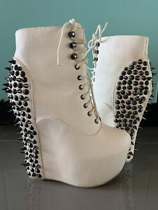 Jeffrey Campbell Damsel White Spike Platform Wedge Black Ankle Bootie Size 8