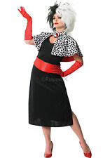 Cruella De Ville Ladies Adult fancy dress costume & Wig - Disney - Size 8-10 BN