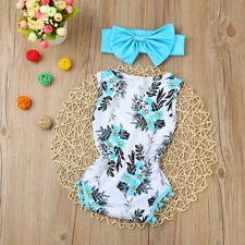 Newborn Toddler Kid Baby Girl Print Romper Jumpsuit Sunsuit+Headband Clothes Set