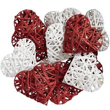 "SET OF 12 RED AND WHITE HEARTS, NEW, EACH 3.75"", VALENTINE, LOVE, WEDDING, HEART"