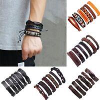 6pcs/set Mens Jewellery Punk Leather Wrap Braided Wristband Bracelet Bangle Gift