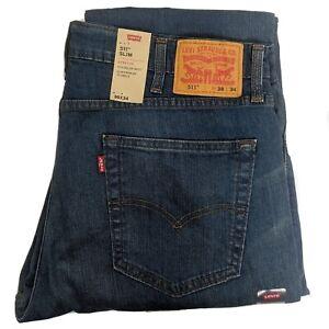 Levis 511 Mens W38 L34 Blue Denim Jeans Slim Fit Stretch 045111025 Medium Wash