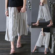 ZANZEA 8-24 Women Summer Boho Capris Wide Leg Pants High Waist Harem Trousers