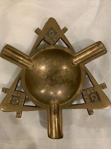"""Vintage Bronze Masonic Ashtray  7"""""""
