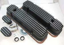 Pontiac V8 Black Aluminum Finned Valve Covers 326 350 455 1959-1981 W/ Breathers