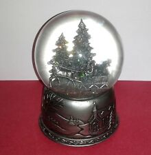 Rare CHRISTMAS SLEIGH RIDE Musical Snowglobe Wood Base Silver Sankyo