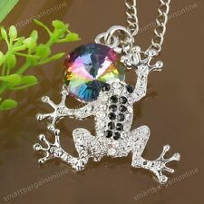 1pc Frog Animal Crystal Silver Plated Bead Pendant For Charm Chain Necklace DIY