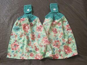 LOT OF 2 CROCHET TOP KITCHEN BATH HAND TOWELS GORGEOUS GARDEN PIONEER WOMAN