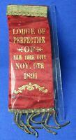 Vintage 1891 New York City Fraternal Organization Lodge Of Perfection Ribbon