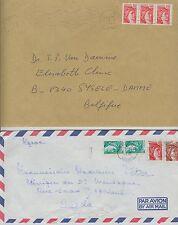 France 2 lettres cover SABINE de GANDON --> Belgique ( 1981) Maroc  (1978)