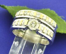 1.06 ct 18k 2 tone Gold ladies Diamond Ring Engagement Ring  Set  12.2 Grams