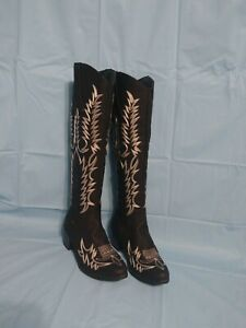 O/BRAND BLk FAUX LEATHER WHITE EMBROIDED EMBOSSED (W) WESTERN BOOTS 37 US 6.5USD