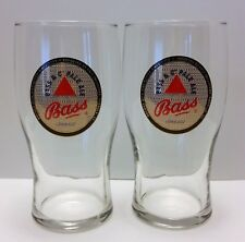 NEW BASS & CO PALE ALE BEER PINT 20OZ GLASS METALLIC SET OF 2 *HARD TO FIND*