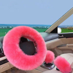 Car Pink Soft Fluffy Steering Wheel Cover+Shifter Cover+Parking Brake Cover Kit