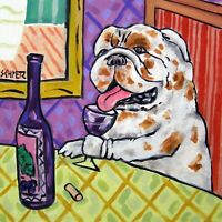 Bulldog at the wine bar dog art tile coaster gift modern artwork