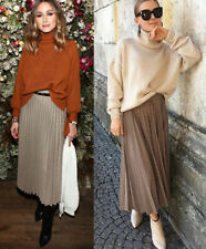 Zara AW19 Long Pleated Houndstooth Check Print Skirt Camel Brown S 4886/277