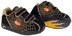 Dinosoles X10 Double Eye Kids/Boys Size Light Up Dinosaur Shoes/Trainers- Black