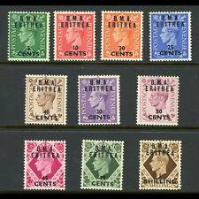 ERITREA 1948 Short Set of 10 Values. SG E1-E9. Fresh Lightly Hinged Mint.(WD040)