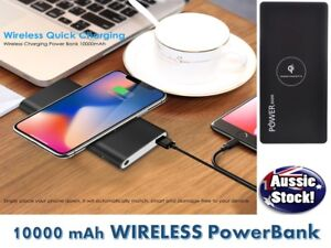 10,000mAh Qi WIRELESS LCD Powerbank with DUAL USB Battery Charger iPhone 12 11 X