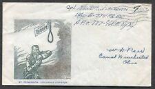 *p910- RARE US Army Postal Service APO 1945 Cover. Anti Hitler Propaganda Cachet