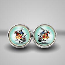 White Rabbit Earrings handmade in gift box. Alice in wonderland