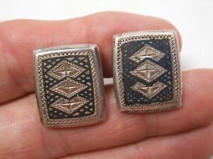 Vtg 950 Fine Sterling Silver Diamond cut Etched Geometric Cufflinks -11.9g - bf