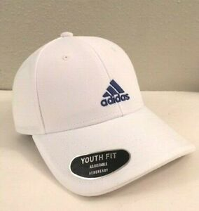 Adidas AEROREADY Youth Fit White Hat Cap with Blue Logo, Adjustable NEW!