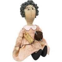 New Primitive Country Folk Art GRANDMA KNITTING DOLL Gray Hair Raggedy Ann 17""