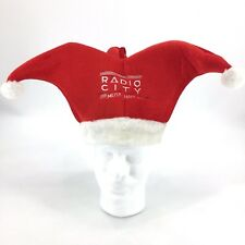 Radio City Music Hall Embroidered Court Jester Red White Pom Pom Christmas Hat