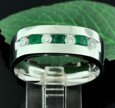 14k Solid White Gold men's Natural Colombian Emerald Diamond Ring 0.73 carats