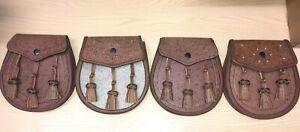 Brown Khaki Pig Skin Highland Dress Sporran Matching ChainStrap Made In Scotland
