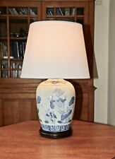 Large blue and white oriental table lamp - Wooden stand New shade