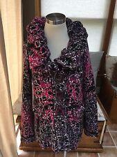 Avette Pink Purple Black Abstract Pattern Gathered Collar Cardigan Sweater M EUC