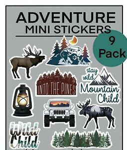 Outdoor Adventure Sticker Pack-Set of 9, Water Bottle Hiking Camping PNW favors