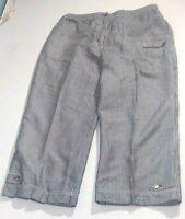 Chico's Cropped Women's Capris Sz 2(L/12) Blue/White Striped Linen Blend Zipper
