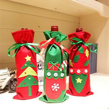Décorations de Noël rouge arbre bouteille de vin couverture sacs Père Noël Neuf