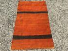 Geometric Vintage Turkish Orange Kilim Rug  2 9  x 4 6  ft  Kelim Teppich  Rugs