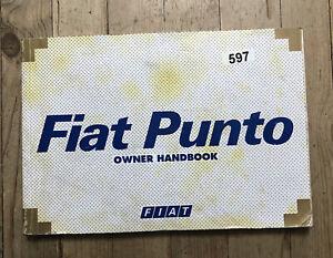 97-01 FIAT PUNTO OWNERS HANDBOOK MANUAL Print 2001 Ref597