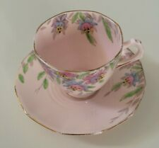 Tuscan Plant Vintage Teacup & Saucer Fine Bone China 1930s Pink Floral Footed