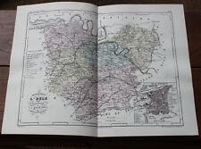 1850 Carte Géographique Atlas époque couleur Département 27 Eure Evreux