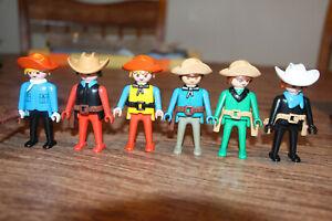 Playmobil x2 old ponchos blue 1ª epoca mexican poncho western mexican