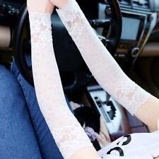 Summer Women's Lace Gloves Sunscreen Long Lace Fingerless Mittens Driving、
