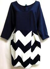 Rue + navy blue/white chevron crew neck plus size spandex dress 2X