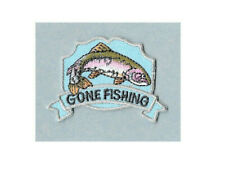 """Fishing - """"Gone Fishing"""" - Embroidered On Twill 2 1/4""""W  Iron On Patch"""