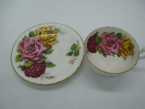 AYNSLEY HUGE CABBAGE ROSE TRIO TEA CUP AND SAUCER