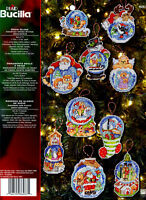 Bucilla Snow Globe ~ Christmas Ornaments Counted Cross Stitch Kit #86283, 10 Pcs